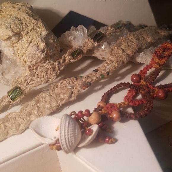 Jewelry - Three hemp macrame necklaces. One price